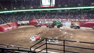 Monster truck Grave Digger flying higt