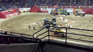 Monster truck bounces and lands on roof
