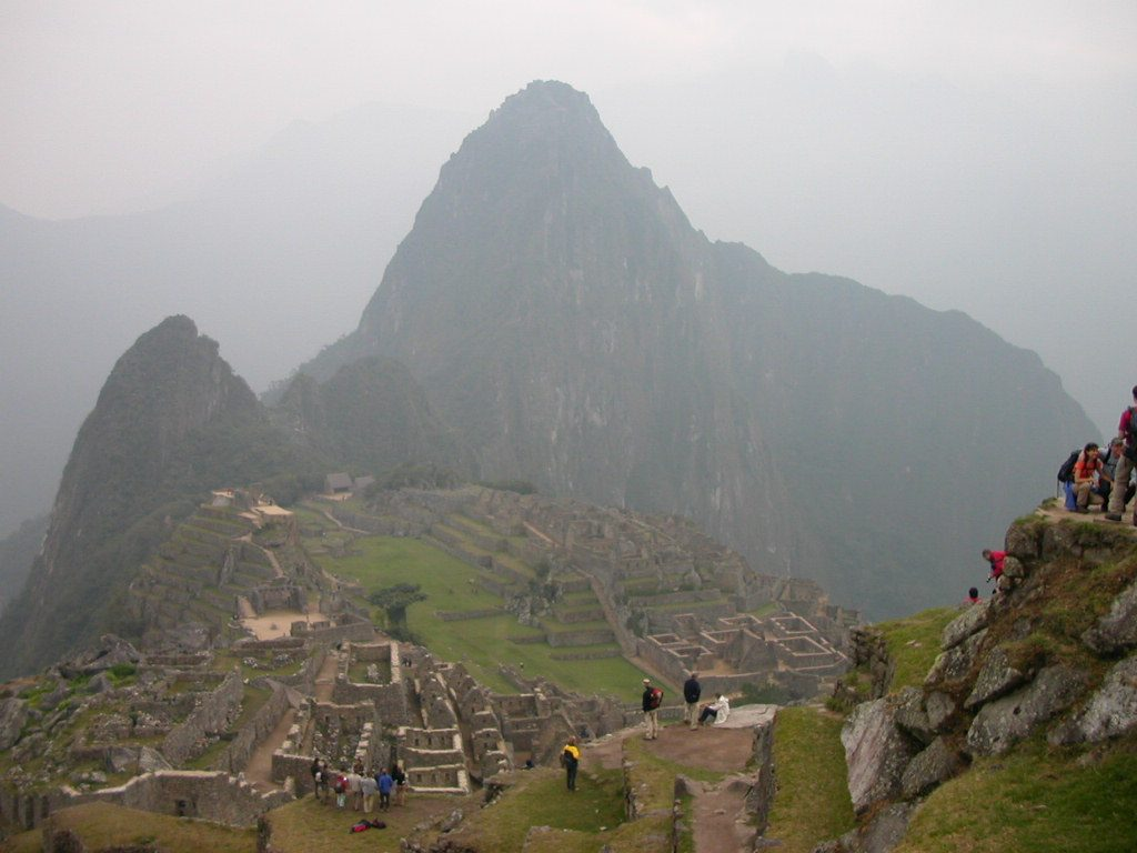 Macchu Picchu city as seen on a foggy October morning
