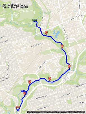 Picture of the route on a map of the Don Trail Toronto
