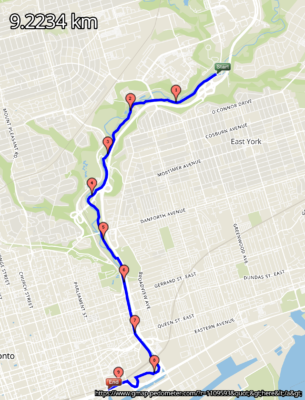 Route on map of the Lower Don Recreation Trail, Toronto