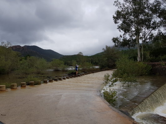 Flooded road to Pic Cap Roux