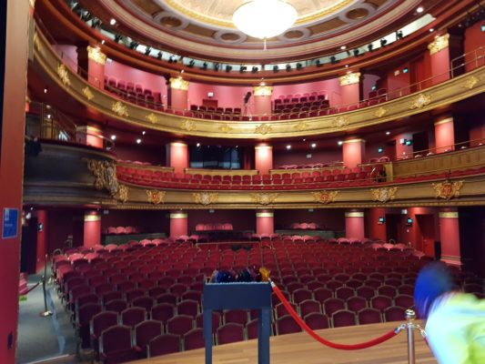 Jos Brink Hall in Haarlem Theater upholstered in red velvet with semi circular and 2 storied balconies.
