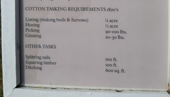 Cotton tasking requirements of the 1820s
